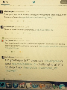 Nerdy PT posts dominate twitter feed, often accompanied with #nerdclub